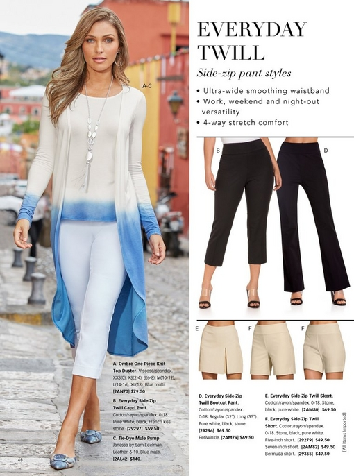 left model wearing a white and blue ombre one-piece knit top duster, white twill capri pants, and tie-dye mule pumps in blue. right panel showing the different twill bottoms: capris, bootcut pants, skort, and three lengths of shorts.