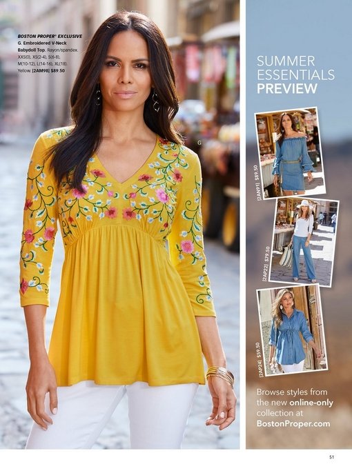 model wearing a yellow floral embroidered v-neck babydoll top and white denim jeans. right panel shows the summer essentials preview.