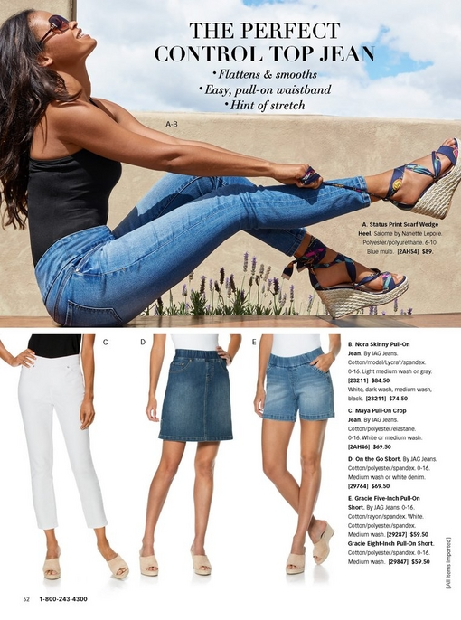 top model wearing a black tank top with pull-on skinny jeans and scarf wedges. bottom panel shows the different styles of jag jeans: white crop jeans, blue skort, and blue short.