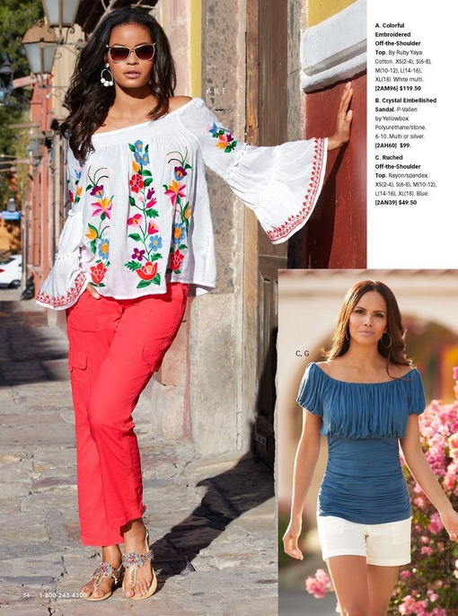 left model wearing a floral embroidered off-the-shoulder flare sleeve top in white, jewel embellished sandals, coral cargo pants, and sunglasses.