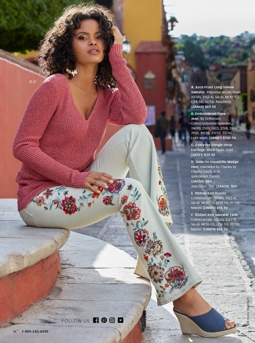 model wearing a knot-front long-sleeve sweater in pink, white denim flare jeans with floral embroidery, and a slide-on espadrille wedges in denim.