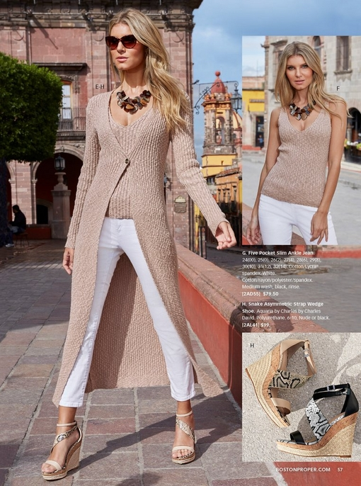 model wearing a tan ribbed knit duster, tan ribbed knit sweater tank, white jeans, and tan snake asymmetric strap wedges. two cutouts to the right: the tan sweater tank and the snake print wedges in tan and black.