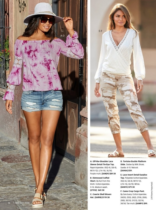 left model wearing an off-the-shoulder purple tie-dye long-sleeve top with lace detail, distressed jean shorts, tortoise buckle platform slides, and a white woven hat. right model wearing a lace insert surplice top in white, camo crop cargo pants, and white sandals.