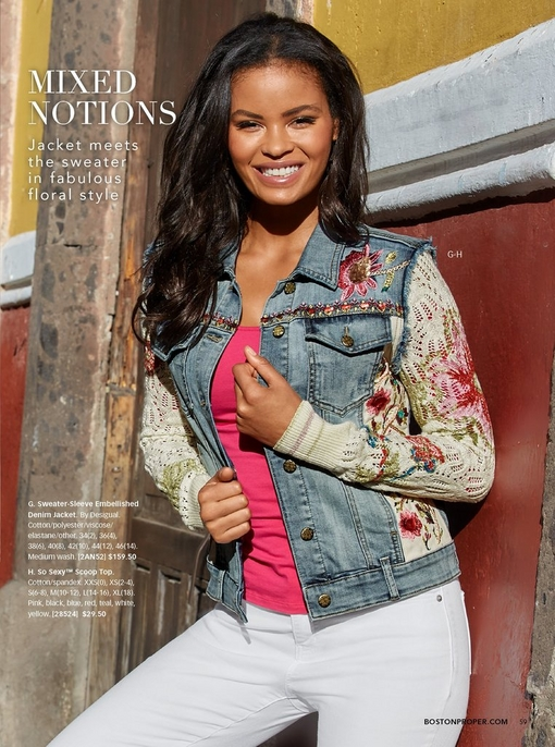model wearing a sweater-sleeve embellished denim jacket, a pink scoop neck top, and white denim jeans.