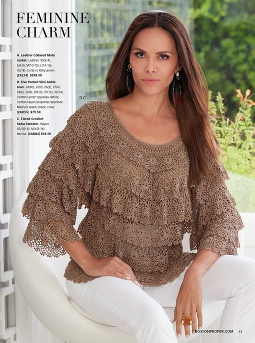 model wearing a tiered crochet salsa sweater in ma mauve and white jeans.
