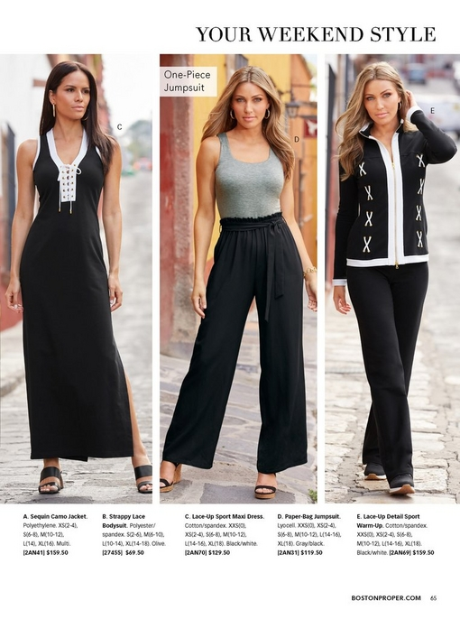 left model wearing a black lace-up maxi dress and black tortoise block heels. middle model wearing a pap-bag jumpsuit with a gray top and black bottom and black cork wedges. right model wearing a black and white lace-up detail sport warm-up and black sneakers.