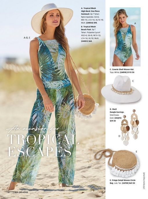 model wearing a blue and green tropical mesh high-neck one-piece swimsuit, blue and green tropical mesh beach pants, a white woven hat, fringe detail woven circle bag, and shell dangle earrings. right panel shows images of the swimsuit, hat, earrings, and woven circle bag.
