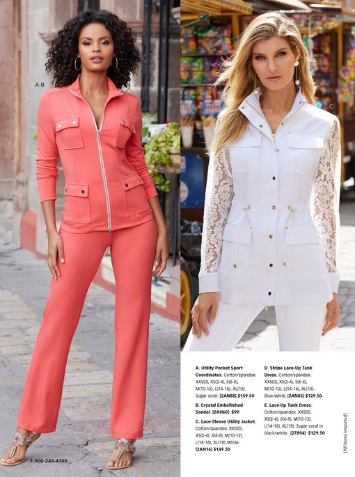 left model wearing pink utility pocket sport coordinates and jeweled sandals. right model wearing a white lace-sleeve utility jacket and white jeans.