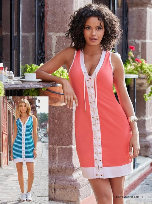 left model wearing a stripe lace-up tank dress in blue and white and whtie sneakers. right model wearing a pink and white lace-up tank dress.