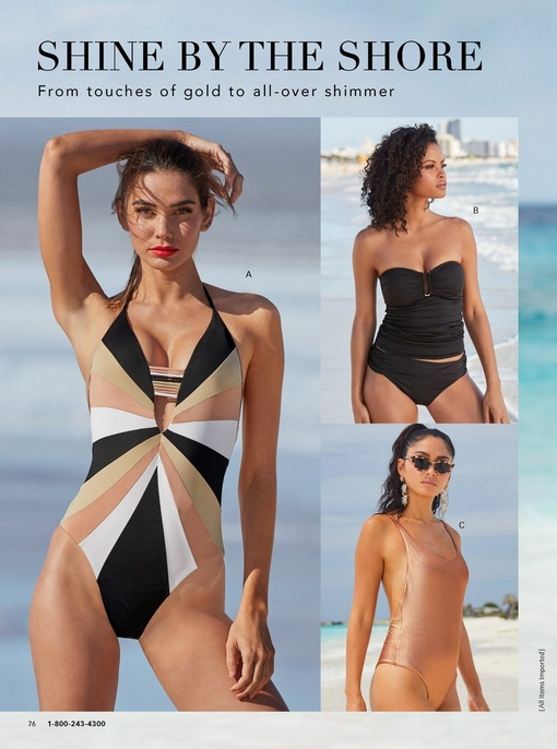 left model wearing a color block one-piece swimsuit in pink, black, white, and tan. top right model wearing a black strapless tankini. bottom right model wearing a metallic pink one piece swimsuit and cat eye sunglasses.