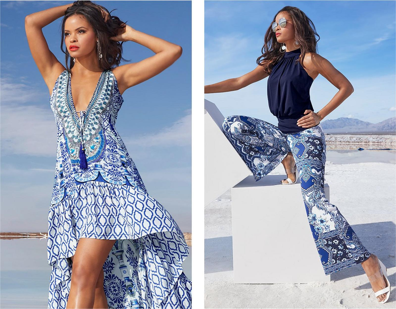 left model wearing a tile print blue and white high-low maxi dress. right model wearing a mock-neck navy sleeveless blouson top, blue tile print palazzo pants, white wedges, and sunglasses.