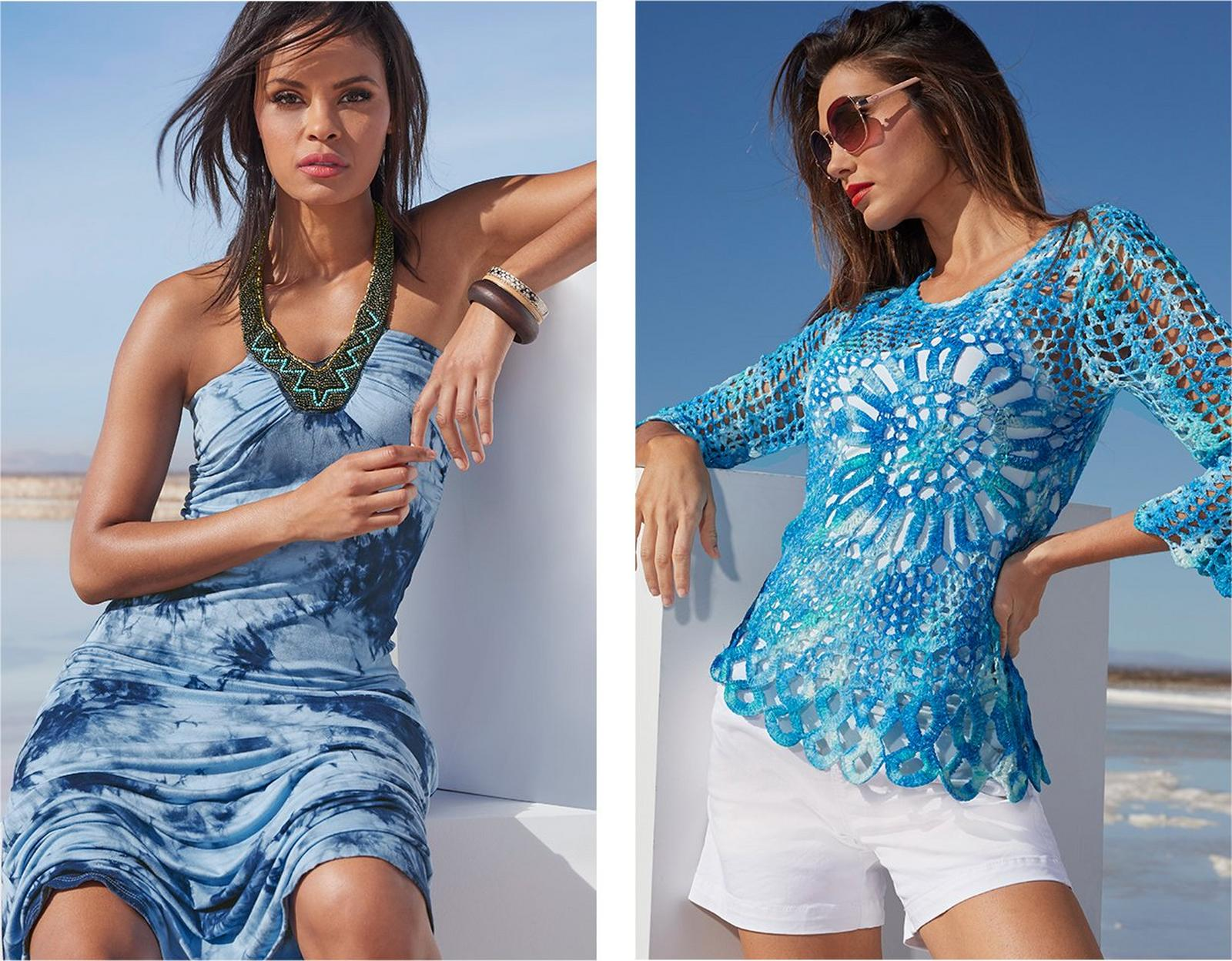 left model wearing a blue tie-dye maxi dress with an embellished neckline. right model wearing a blue crochet sweater, white tank top, white shorts, and sunglasses.