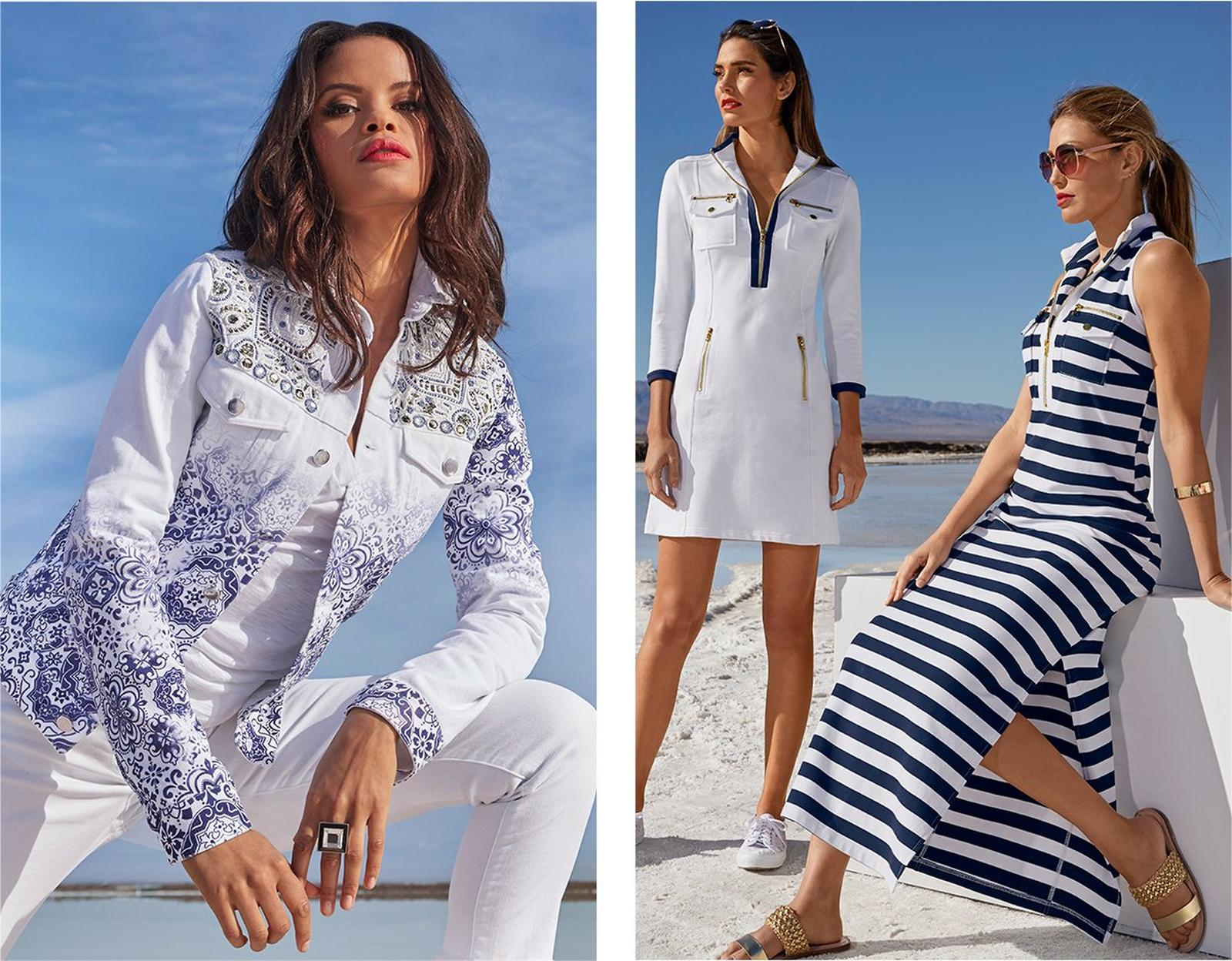 left model wearing a white and blue embellished denim jacket, white v-neck tee shirt, and white jeans. middle model wearing a white and navy chic zip long sleeve dress. right model wearing a navy and white striped chic zip maxi dress.