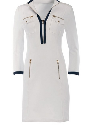 white chic zip three-quarter sleeve sport dress with navy piping.