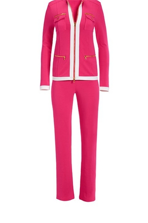 hot pink chic coordinates with white piping.