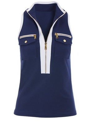 navy sleeveless chic-zip top with white piping.