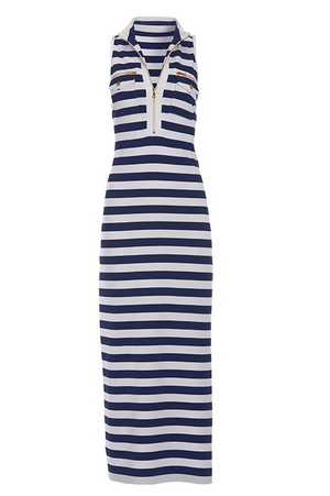 navy and white sleeveless chic zip maxi dress.