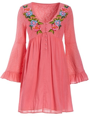 pink lace flare-sleeve floral embroidered dress.