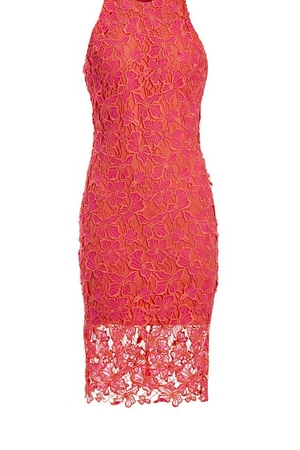 coral high-neck lace sheath dress.