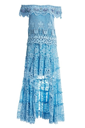 blue off-the-shoulder lace high-low maxi dress.