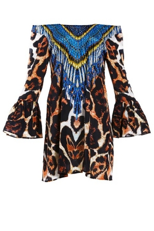animal print flare-sleeve off-the-shoulder dress with printed blue beading.