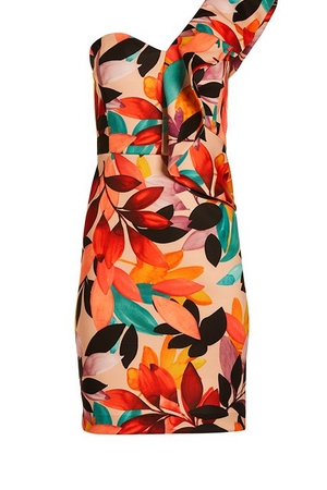 one-shoulder floral printed ruffle dress.