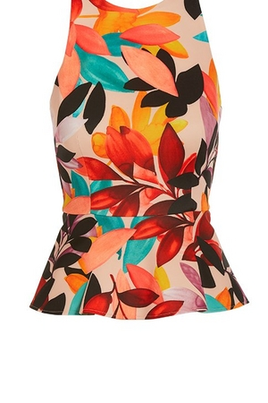 floral printed high-neck sleeveless peplum top.