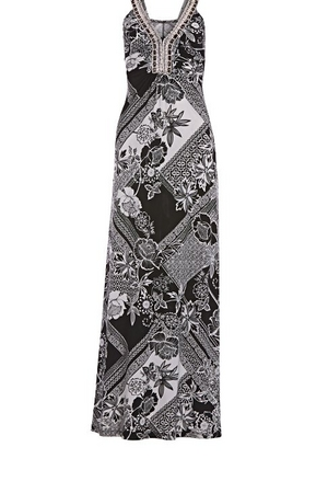 black and white printed maxi dress with embellished neckline.