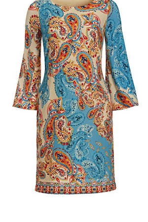 long-sleeve paisley printed sheath dress.