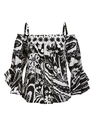cold shoulder black and white printed top with floral appliques.