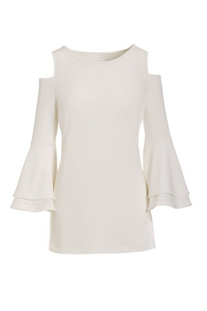 white cold-shoulder flare-sleeve top