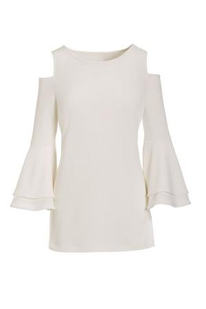 white cold-shoulder flare-sleeve top