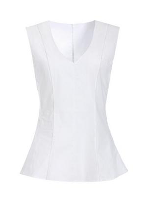 white poplin peplum sleeveless top.