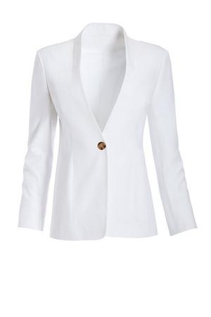 white single button everyday twill collarless blazer.