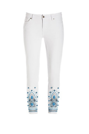 white crop jeans with turquoise bauble embellishments.