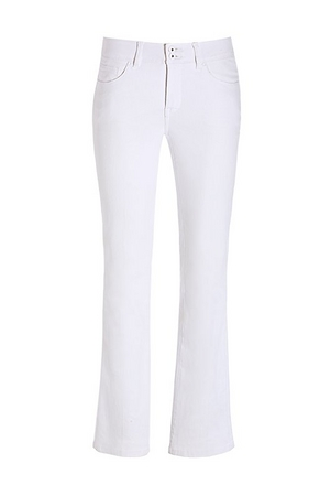 white flare jeans.