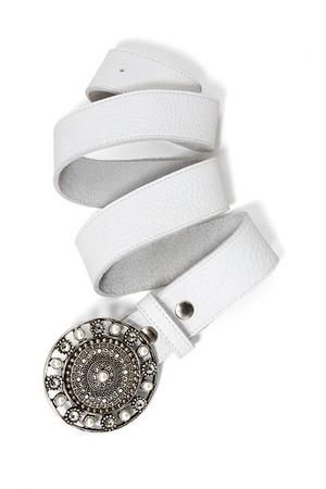 white stone embellished belt.