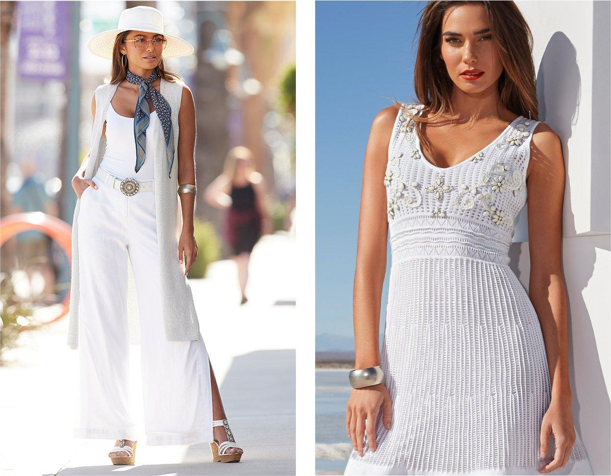 left model wearing a white sleeveless sweater duster, white tank top, whtie stone embellished belt, white linen pants, a scarf around her neck, and a white floppy hat. right model wearing a white shell embellished sleeveless sweater dress.