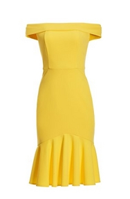 yellow off-the-shoulder dress with ruffle hem.