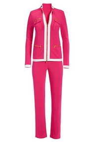 hot pink chic zip coordinates with white piping.