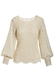 off-white lace puff-sleeve sweater.