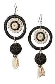 black and white tassel earrings.