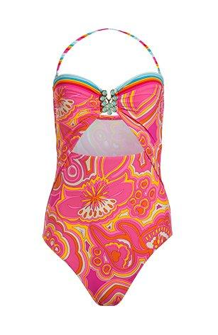 orange, blue, and pink halter neck one-piece swimsuit with a middle cutout.