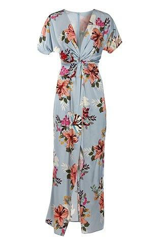 blue maxi dress with an allover floral design.