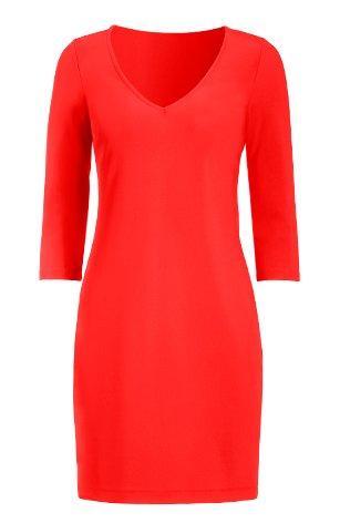 coral three-quarter sleeve sheath dress.