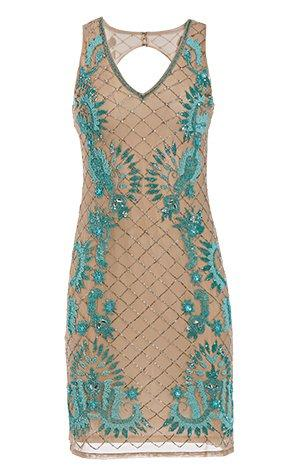 tan lace sleeveless dress with turquoise embellishments.