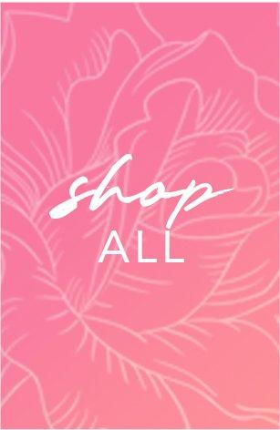 white text on a pink floral background: shop all