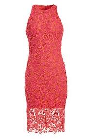 coral high-neck lace sheath dress.