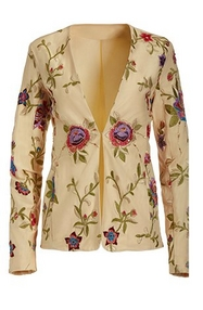 off-white linen blazer with floral embroidery.