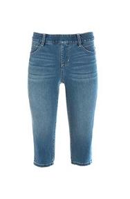 knee-length denim shorts.